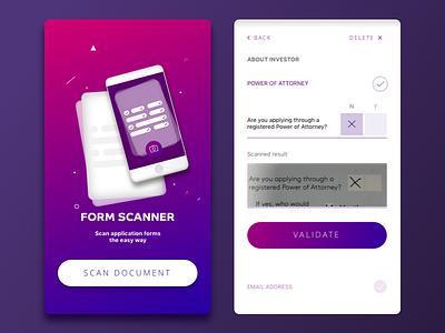 Form Scanner App scan ocr homescreen ux ui mobile design ui design ios mobile app