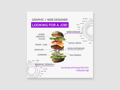 Looking for job AD design art artwork typography social media illustration vector web design illustration art graphicdesign