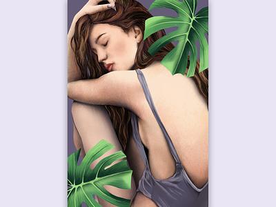Girl and plant poster drawing illustraion painting art design artwork illustration art graphicdesign