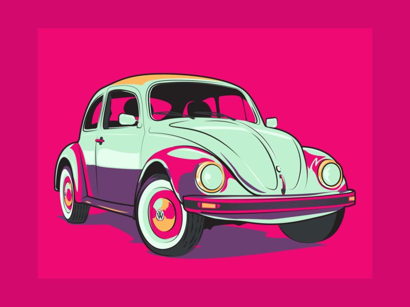 Volkswagen Beetle Classic Illustration neon style vintage classic volkswagen vw illustration