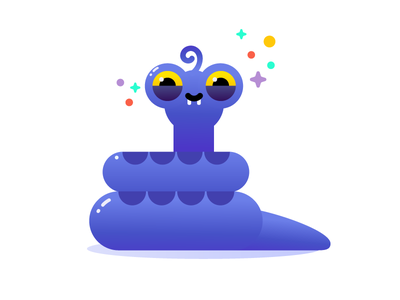Snake curl gradient illustrator cute funny vector sneaky reptile snake