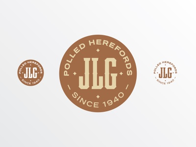 JLG Polled Herefords badge hereford cow cattle logo
