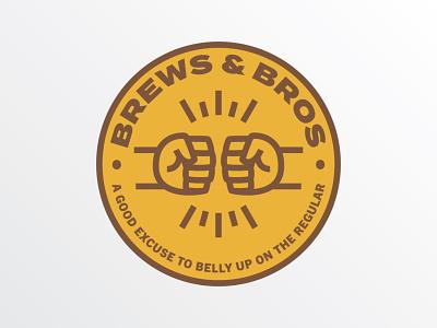 Brews & Bros bro bros brews beer fist bump circle badge logo