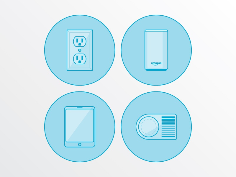 Icons echo alexa amazon card tablet socket plug icons