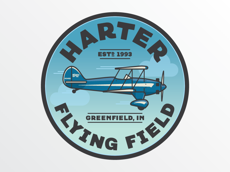 Harter Flying Field biplane waco plane airplane logo