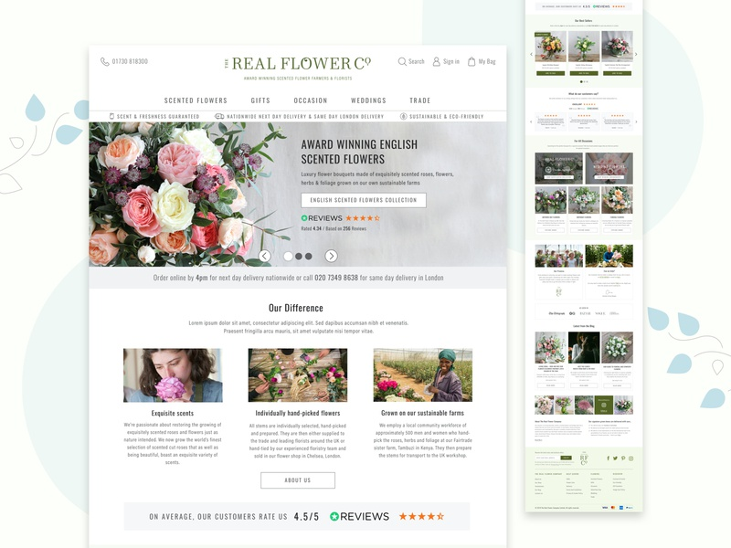 The Real Flower Company - Homepage Desktop UI interaction design case study uxui ux conversion rate optimisation ecommerce ecommerce design ecommerce shop client work design ux design branding ui ui design desktop design mobile design user interface design