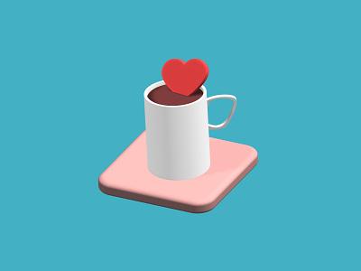 Coffee Love - 3D Exploration vector concept 3ddesign spline 3d cup practice illustration coffee render 3d