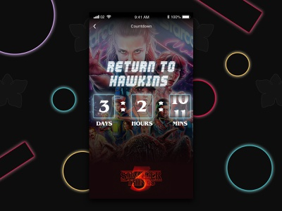 Stranger Things 3 Countdown Concept concept ui strangerthings user interface ui user interface design neon ui neon lights neon mobile themed netflix 80s style ux design ui design mobile design mobile ui countdown concept stranger things