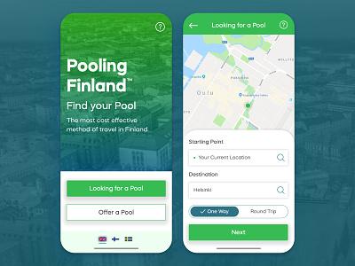 Car Pool App Concept - Pooling Finland app ui app app design user experience minimalistic ux ux  ui uxdesign service car pool finland ui ui design typography user interface design concept
