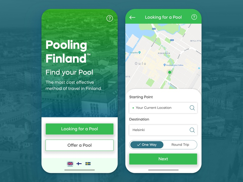 Car Pool App Concept - Pooling Finland app ui app app design user experience minimalistic ux ux  ui uxdesign service car pool finland ui ui design typography user interface design concept