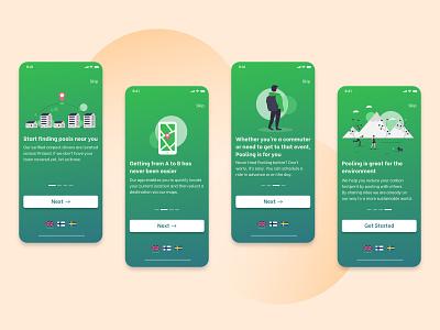 Pooling Finland  - All Onboarding Screens user interface designer app ui app designer mobile app mobile design design app app design ux design ui branding ui design typography user interface design concept