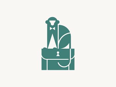 Monkey Business : Uno gentleman bowtie keyhole ape primate restaurant branding restaurant logo briefcase corporate business monkey
