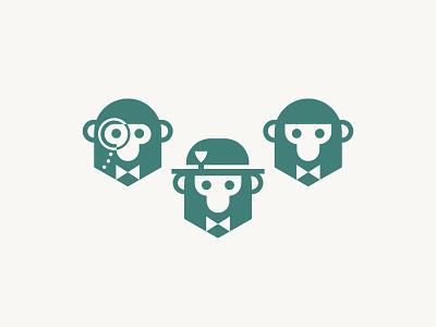 Monkey Business : Dos three restaurant branding restaurant logo restaurant corporate business bowler hat hat monocle bowtie monkey