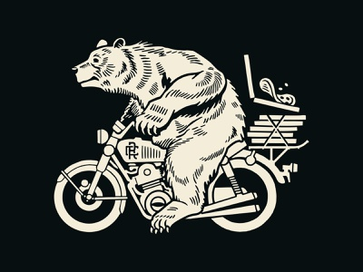 Ride or Pie packaging paw bike biker racing togo delivery restaurant brand branding pizza motorcycle bear