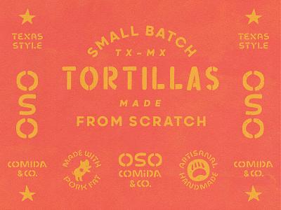 OSO Brand Elements : Uno tacos scratch handwritten custom lettering stencil oso star bear hog pig mexican restaurant restaurant mexican cuisine tex-mex texmex texas mexico mexican tortillas