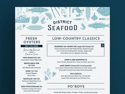 D.S. Seafood Menu southern garlic boat corn oyster shrimp crab fish restaurant menu design menu design restaurant menu menu branding restaurant branding seafood