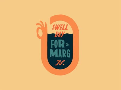 OK Margs 70s vintage retro mexico baja california surfing waves branding brand typography cocktails gesture hand ok margarita