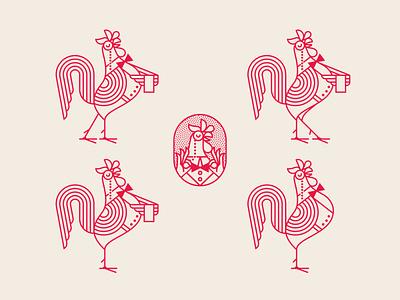 Birdcall: The Classy Rooster colorado colorado springs birdcall waitress waiter butler hospitality server monocle bowtie restaurant branding branding restaurant character design character hen rooster chicken
