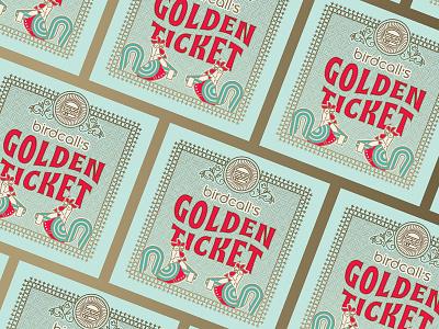 Birdcall: Golden Ticket certificate bird character design promotional golden ticket flourishes butler waitress waiter server hen rooster chicken hamburger sandwiches colorado restaurant restaurant branding birdcall