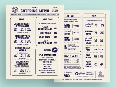 B.C. Catering Menu | One catering newspaper flock rooster chicken retro typography layout layout design restaurant menu menu layout menu design menu comfort food fried chicken restaurant brand restaurant design restaurant branding restaurant