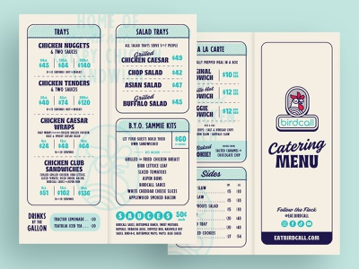 B.C. Catering Menu | Two newspaper vintage retro fried chicken comfort food rooster chicken bifold togo menu catering menu layout layout design menu layout menu menu design restaurant branding restaurant brand restaurant menu restaurant