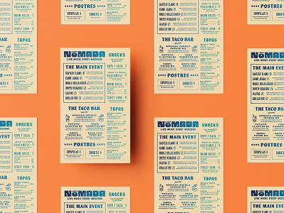 Lady Nomada Menu | One layout layout design menu layout fish shrimp ceviche bar tacos colorado restaurant menu gig poster vintage retro restaurant brand mexican food mexican restaurant restaurant branding restaurant menu menu design