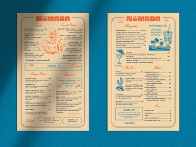 Lady Nomada Menu   Two bar menu menu layout bar tiki vintage retro layout design mexican cuisine dinner dinner menu cocktail cocktail menu restaurant design menu restaurant restaurant branding menu design restaurant menu