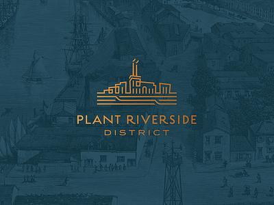 Plant Riverside District Logo hotel historic smokestacks stacks buildings river linear prd savannah district brand design custom architectural branding brand logo design logo
