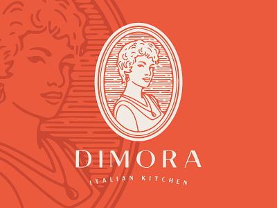 Dimora Logo vector people person face female woman profile portrait restaurant logo branding
