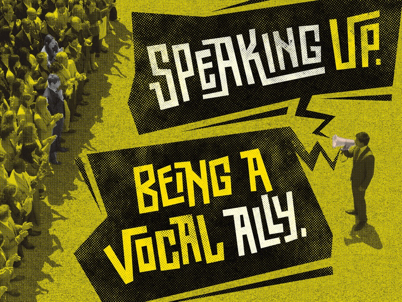 Speaking Up cut out contrast speaker audience crowd people halftone grunge rock punk type design typographic hand lettering lettering type typography