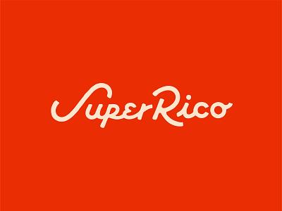 Super Rico : Dos wordmark type script cursive orlando food lettering typography logotype super colombian hospitality restaurant logo design brand branding logo