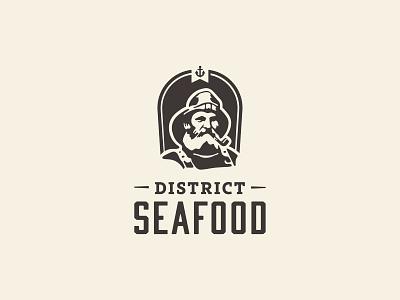 Seafood: Logo One logo brand branding anchor face silhouette portrait fisherman sailor captain nautical seafood restaurant