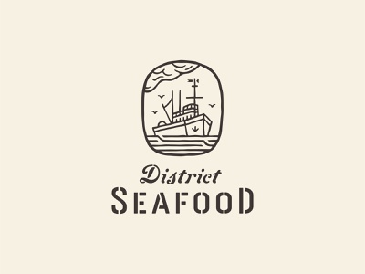 Seafood: Logo Two troller trawler stencil anchor cloud branding brand logo ocean sea boat ship fishing nautical seafood restaurant