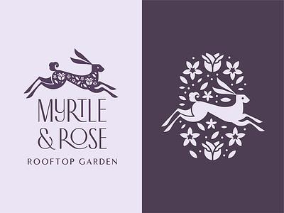 M & R Logo logo brand branding garden myrtle rose flowers flower hare rabbit speakeasy restaurant lounge bar