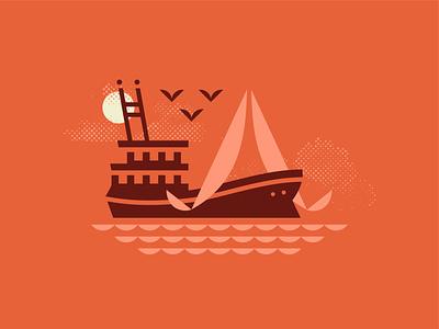 Gone Fishin' coast branding minimal pattern beach tropical vacation sunset seagull sailing sail ship boat fishing fish shrimp waves water ocean sea