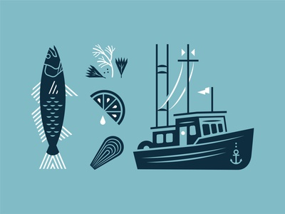 Seafood: Illustration Pack spices herbs flag anchor brand restaurant branding dill garnish lemon clam oyster fishing boat bass fish ocean sea marina