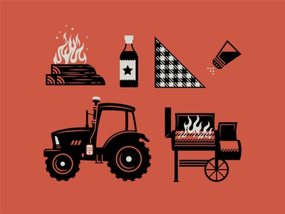 Smokehouse: Illustration Pack southern restaurant shaker bottle sauce napkin pit bonfire wood logs fire flame grilling smoker grill farm tractor smokehouse barbecue bbq