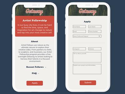 Getaway In-App Artist Fellowship Application #DailyUI ui dailyui 001 dailyuichallenge dailyui