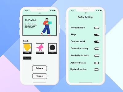Profile and Settings #Daily UI settings ui settings profile design profile page dailyui007 dailyui006 daily ui design ui dailyuichallenge dailyui