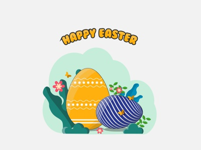 Happy Easter flat illustration butterfly flat egg illustration illustration flat illustrator eggs flat eggs easter egg fastival happy holidays happy easter day happy easter day