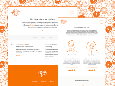 Two in Fifty Two flat website blog content donuts orange