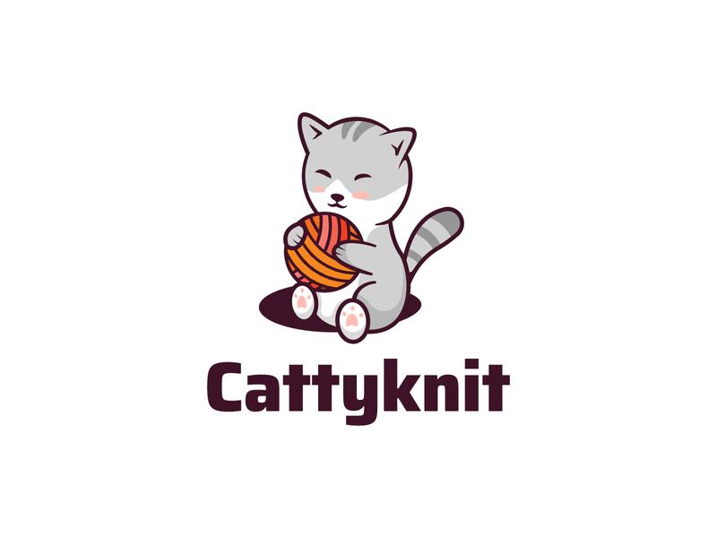 Cat Logo cute logo animal animal logo sitting cute animal cute catty ball knitting knit illustration cat art cat logo cat