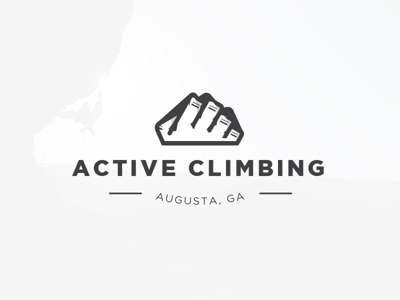 Active Climbing Logo logo design branding bouldering hand mountain climbing rock