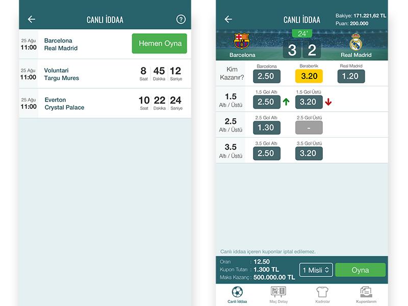 Live Bets Page - Nesine.com App freelance designer freelance tasarımcı app bets live
