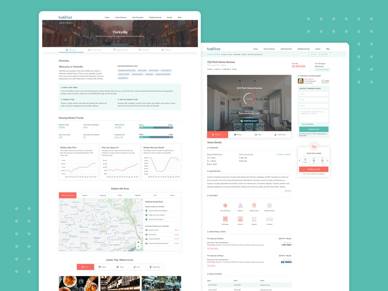 Habitat Property Platform Screens neighborhood agent map market canada graph charts property real-estate apartment clean ui