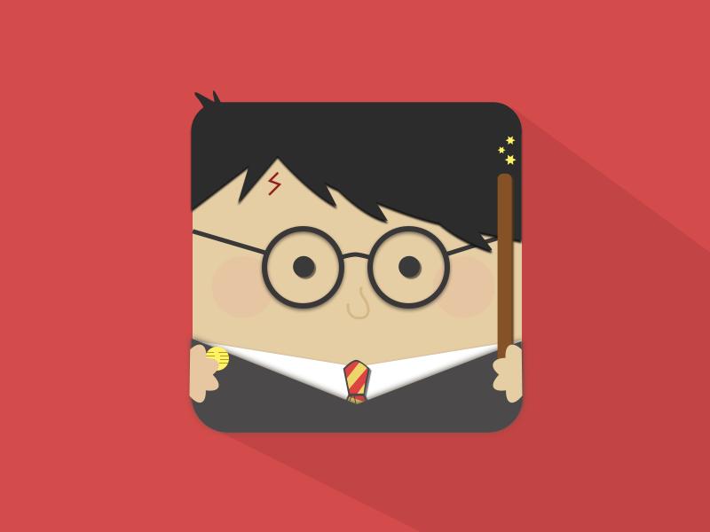 Material Design Harry harry potter app icon illustration material design ios