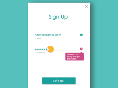 Sign Up ui user experience ux error message password dailyui daily ui mobile sign up