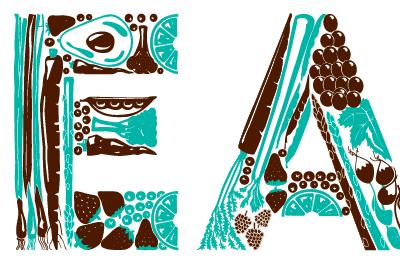 EAT illustration hand lettering typography vegetables