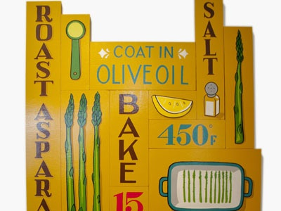 Roast Asparagus  sign painting typography hand lettering food