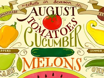 August Seasonal Produce  hand lettering illustration typography food vegetables